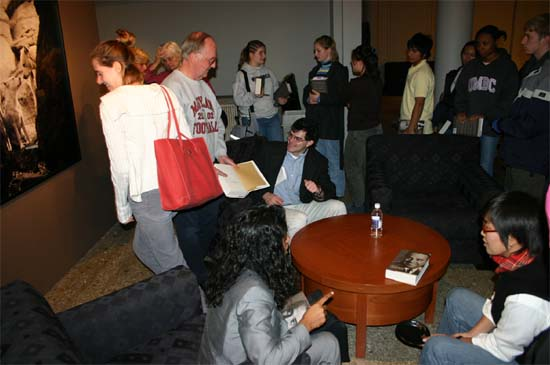 "Scott signed over 100 copies of his book ""Sarge"" for members of the audience."