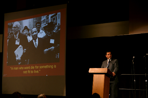 Gaddi Vasquez, a United Nations Ambassador for the organizations agencies in Rome, gives keynote address at Cal State Fullerton's third annual Martin Luther King Jr. celebration
