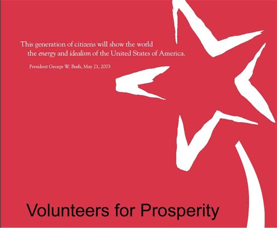 American professionals affiliated with Volunteers for Prosperity received the highest honors of the President's Volunteer Service Awards in a ceremony in Washington May 18, 2004