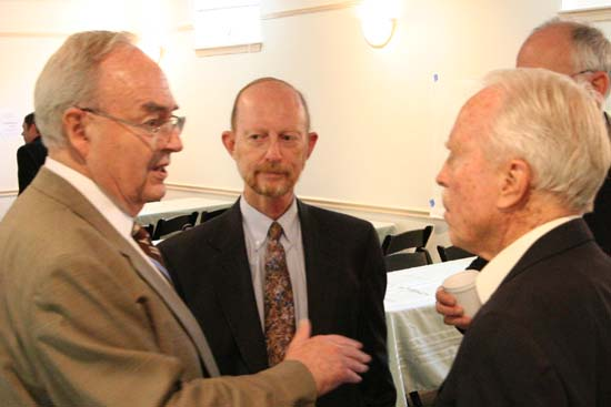 "Warren Wiggins once said of Harris Wofford (left speaking with Africare Country Director Kevin Lowther (center) and Peace Corps Director Jack Vaughn (right): ""He was very important to Shriver.  The most important things Wofford brought was his influence as a sounding board, an initiator and a friend of Shriver.  He was an enormous help to me personally."""