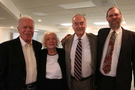 Mrs. Edna Wiggins, widow of Peace Corps Architect Warren Wiggins, with &#40;left to right&#41; Director Jack Vaughn, Senator Harris Wofford, and Peace Corps Online Publisher and Co-Editor Hugh Pickens near the end of the reception.  <BR>