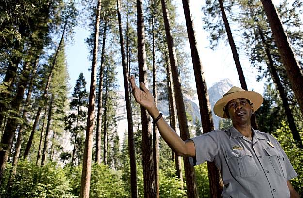 Liberia RPCV Shelton  Johnson, a musician, storyteller and interpretive specialist at Yosemite National Park, is determined to inspire young inner-city African Americans to experience what he says transformed his life
