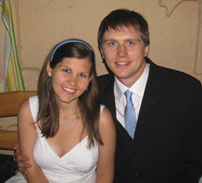 Peace Corps Volunteer Kimberly Angalet and Andrey Shevchenko were married in a double-ring ceremony July 10, 2009, in Astana. Kazakhstan
