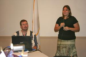 Tim Moss and Becky Turnquist Moss gave a presentation about their Peace Corps service in Burkina Faso at a Rotary Club