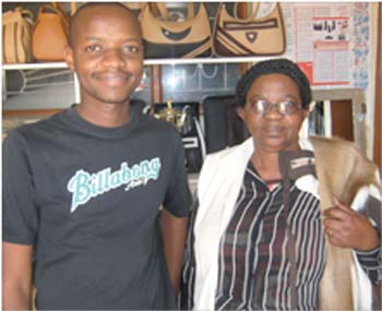 KgomotsoTamasiga of Leather Products Botswana learned leather working skills from American volunteers who were in the country on the Peace Corps program