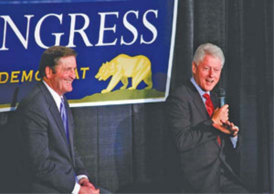 President Bill Clinton and Lt. Gov. John Garamendi speak about health reform and the Garamendi for Congress campaign during a rally at the Basque Cultural Center in South San Francisco