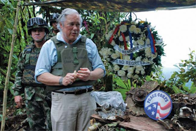 Malawi RPCV Gordon Radley tossed stones from Jerusalem over a muddy ridge in Colombia, scattered dirt from the family's cemetery plot, and recited the Jewish memorial prayer to keep a promise made 50 years earlier to honor the memory of his brother, Peace Corps Volunteer Larry Radley, who died in a plane  crash there in 1962