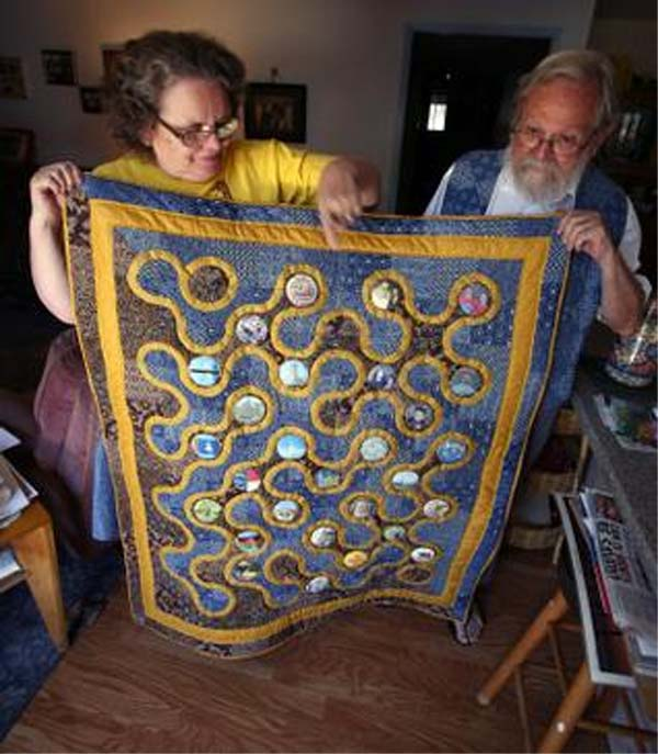 Polly and Bruce Hargreaves made a memory quilt for their 45th wedding anniversary that focuses on their experiences while living and working as Peace Corps Volunteers in Malawi