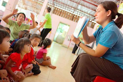 Heather Chadwick has been with the Peace Corps in Thailand since January 2009 working at a preschool in one of the country's poorest regions, teaching English, doing lesson planning with teachers and helping with school projects