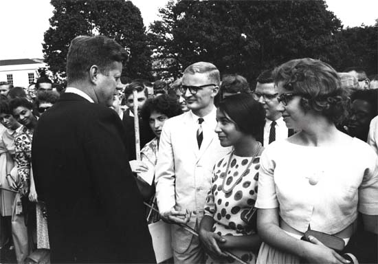 Eighty Ghana and Tanganyika Peace Corps Volunteers, the first to be assigned overseas, were given a personal sendoff by President Kennedy - From The Volunteer Newsletter November 1961