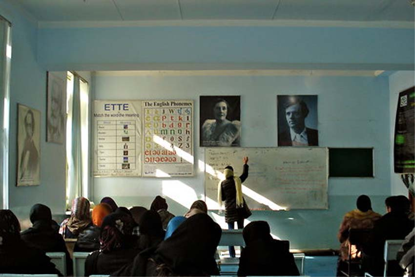 RPCV Jaala Thibault teaches women teachers on methods for English language training at the Kabul Education University
