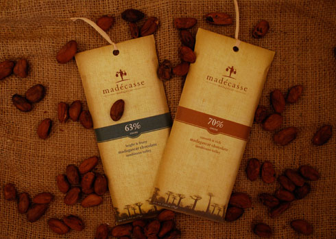 Mad�casse (pronounced mah-DAY-cas) chocolate is made from beans grown in Madagascar and produced in factories nearby. The company is owned by two young Americans, Brett Beach and Tim McCollum who both worked in Madagascar as Peace Corps volunteers