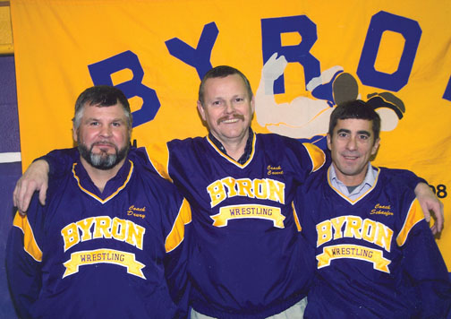 After coaching varsity wrestling the past 34 years - including the last 32 at Byron - Swaziland Marti Covert has finally decided it's time to step down and enjoy the fruits of retirement
