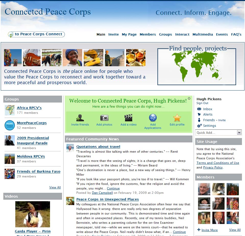 NPCA gets new web site with Peace Corps Connect