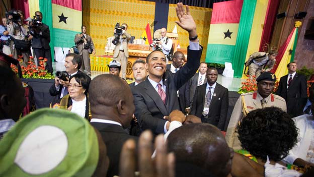 Obama Thanks Peace Corps Volunteers during Official Trip to Ghana