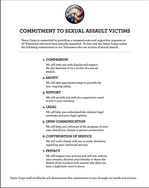 Peace Corps Releases Committment to Sexual Assault Victims