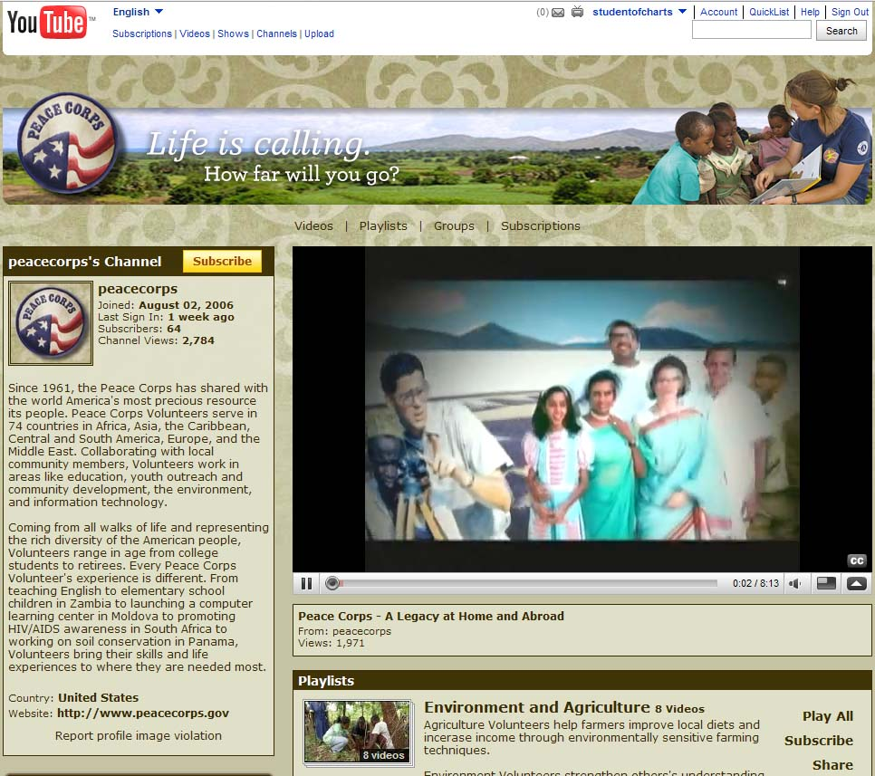 Peace Corps Launches YouTube Channel
