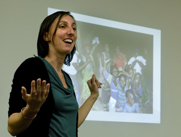 Bulgaria RPCV Melanie Forthun speaks to students about about opportunities in the Peace Corps