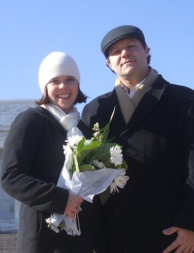 Macedonia RPCVs Tara Trepanier and Joshua Gill  marry on the steps of the Lincoln Memorial in Washington, D.C.