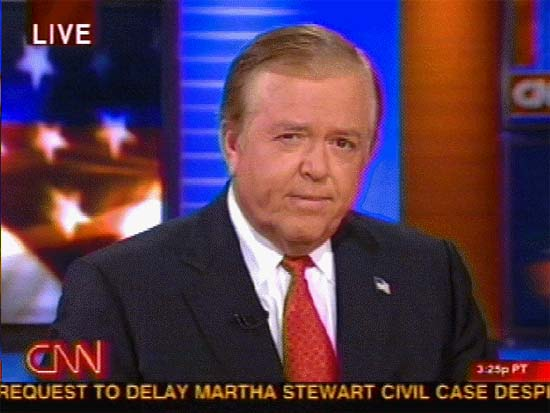 Lou Dobbs on CNN, squashed
